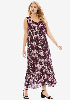 Button-Front Everywhere Crinkle Dress, ORCHID FLORAL PRINT, hi-res