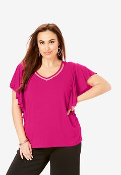 Embellished V-Neck Tee,