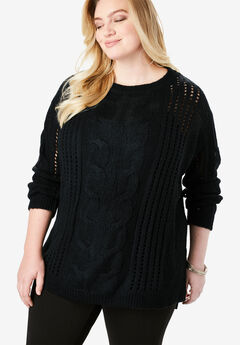 Loose Crochet Sweater, BLACK