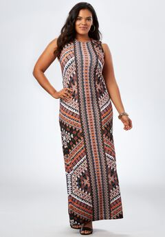 Print Maxi Dress, ORANGE MULTI TRIBAL