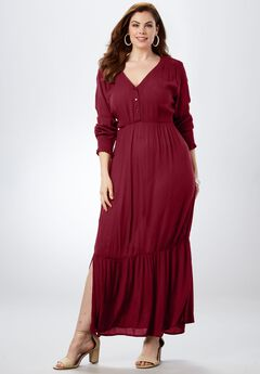 Crinkle Maxi Dress, DARK CHERRY