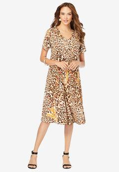 Ultrasmooth® V-Neck Swing Dress, NATURAL LEOPARD