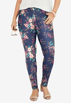 Skinny Jean with Invisible Stretch® by Denim 24/7®, MULTI PEONY BOUQUET