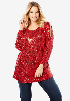 Cold-Shoulder Sequin Tunic,