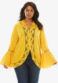 Crochet Bell Sleeve Tunic, BRIGHT GOLD, hi-res