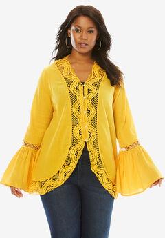 Crochet Bell Sleeve Tunic, BRIGHT GOLD, hi-res