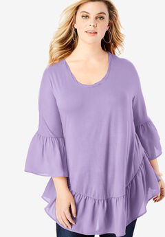 Ruffle-Hem Tunic with Bell Sleeves, BRIGHT LILAC