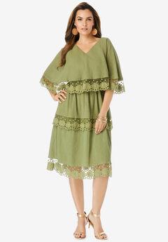 Tiered-Lace Crinkle-Knit Gauze Dress,