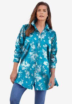 Kate Tunic Big Shirt, DEEP TURQUOISE FLAT FLORAL