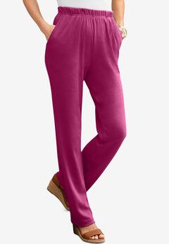Straight-Leg Soft Knit Pant, RASPBERRY