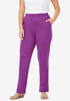Straight-Leg Soft Knit Pant, PURPLE MAGENTA