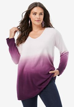 Fine Gauge Ombré Sweater, DARK BERRY