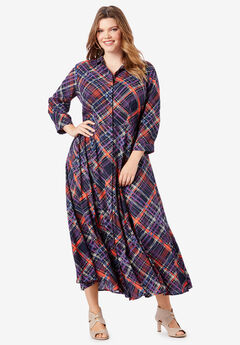 Flowing Button-Front Dress, BIAS PLAID