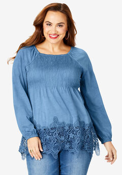 Lace-Hem Babydoll Tunic, DUSTY INDIGO