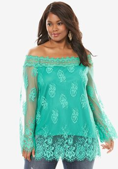 Off-The-Shoulder Lace Top, TROPICAL EMERALD, hi-res