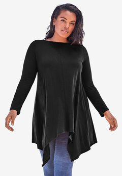 Handkerchief Hem Ultimate Tunic, BLACK