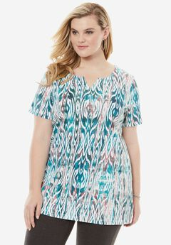 Print Notch Neck Tunic, TROPICAL TEAL TRIBAL, hi-res