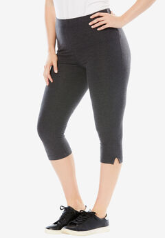 Stretch Capri Leggings, HEATHER CHARCOAL, hi-res
