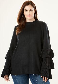 Tiered-Sleeve Sweater by Denim 24/7®, BLACK, hi-res