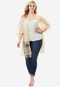 Lace Kimono Jacket, OATMEAL, hi-res