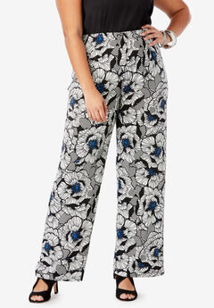 Wide-Leg Pant, BLUE GRAPHIC FLORAL