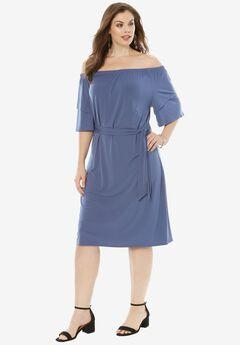 Off-The-Shoulder Ruffle Dress, DARK BLUE, hi-res