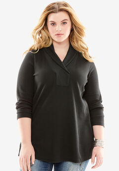 Thermal Shawl Collar Tunic, BLACK, hi-res