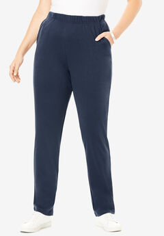 Soft Knit Straight-Leg Pants, NAVY, hi-res