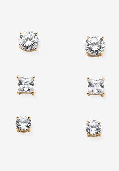 Gold Tone 3 Pair Stud Earrings (8x8mm) Cubic Zirconia,