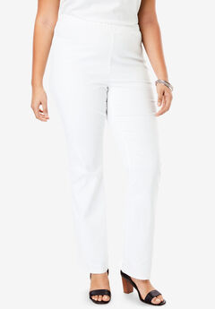 Straight-Leg Pull-On Stretch Denim Jean by Denim 24/7®, WHITE DENIM