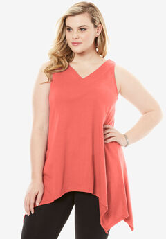 Handkerchief Hem Super Tunic Tank, DUSTY CORAL, hi-res