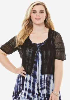 Cropped Pointelle Cardigan,