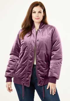 Velvet Bomber Puffer Jacket, WINTER PLUM