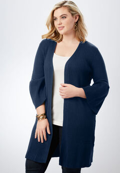 Ribbed Bell-Sleeve Cardigan,