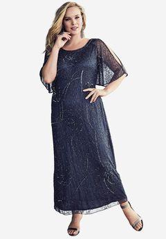 Beaded Cold Shoulder Dress By Pisarro Nights, DARK BLUE, hi-res