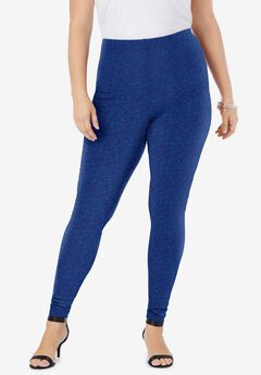 Ankle-Length Essential Stretch Legging, NAVY GRAPHIC TEXTURE