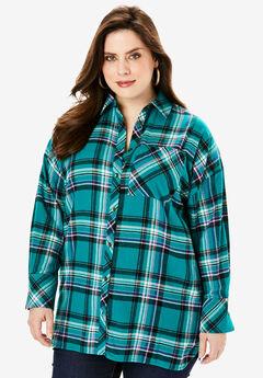 Flannel Tunic, GEMSTONE PLAID