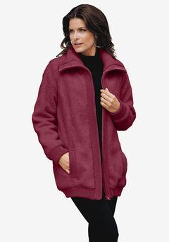 Textured Fleece Bomber Coat, MERLOT