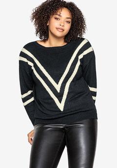 Chevron Stripe Pullover Castaluna , BLACK IVORY