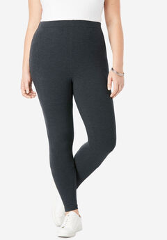 Ankle-Length Stretch Legging, HEATHER CHARCOAL