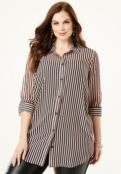 Georgette Tunic, ROSE HAZE STRIPE