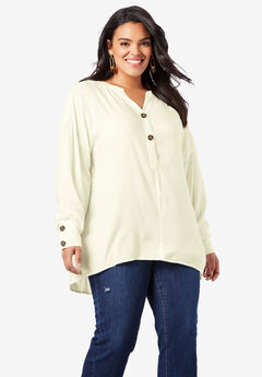 Flowing Henley Top, IVORY
