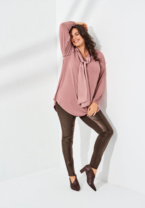 de67dbcd42475 Bow-Tie Blouse with V-Neck