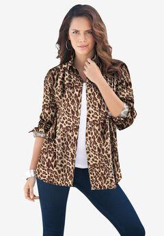 Long-Sleeve Kate Big Shirt, NATURAL CHEETAH