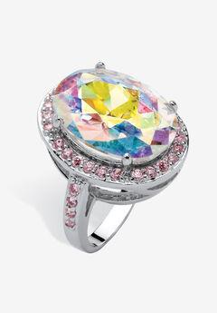 Silver Tone Aurora Borealis and Pink Halo Cocktail Ring,