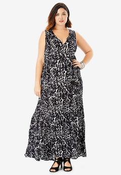Crinkle A-Line Maxi Dress, BLACK WHITE ABSTRACT