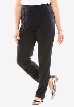 Creased-Front Knit Pants, BLACK, hi-res
