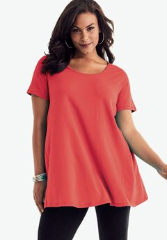 The Scoopneck Trapeze Maxi Tunic, CORAL RED, hi-res