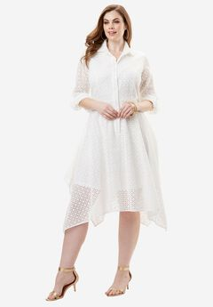 Eyelet Shirtdress, WHITE, hi-res