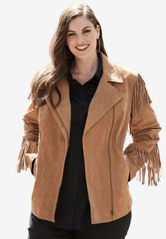Suede Moto Jacket With Fringe,